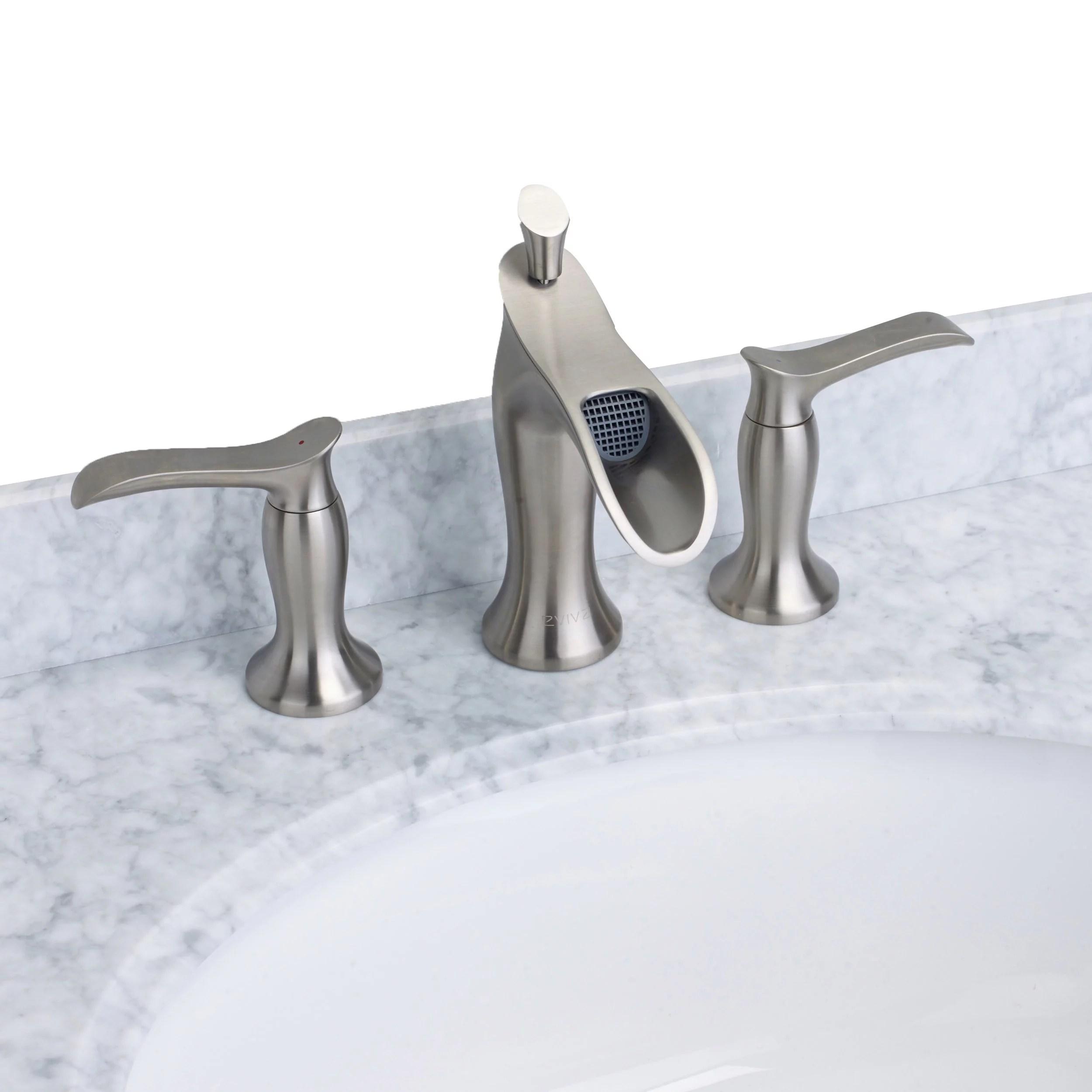 eviva swan luxury water fall widespread three hole 2 handles bathroom sink faucet brushed nickel