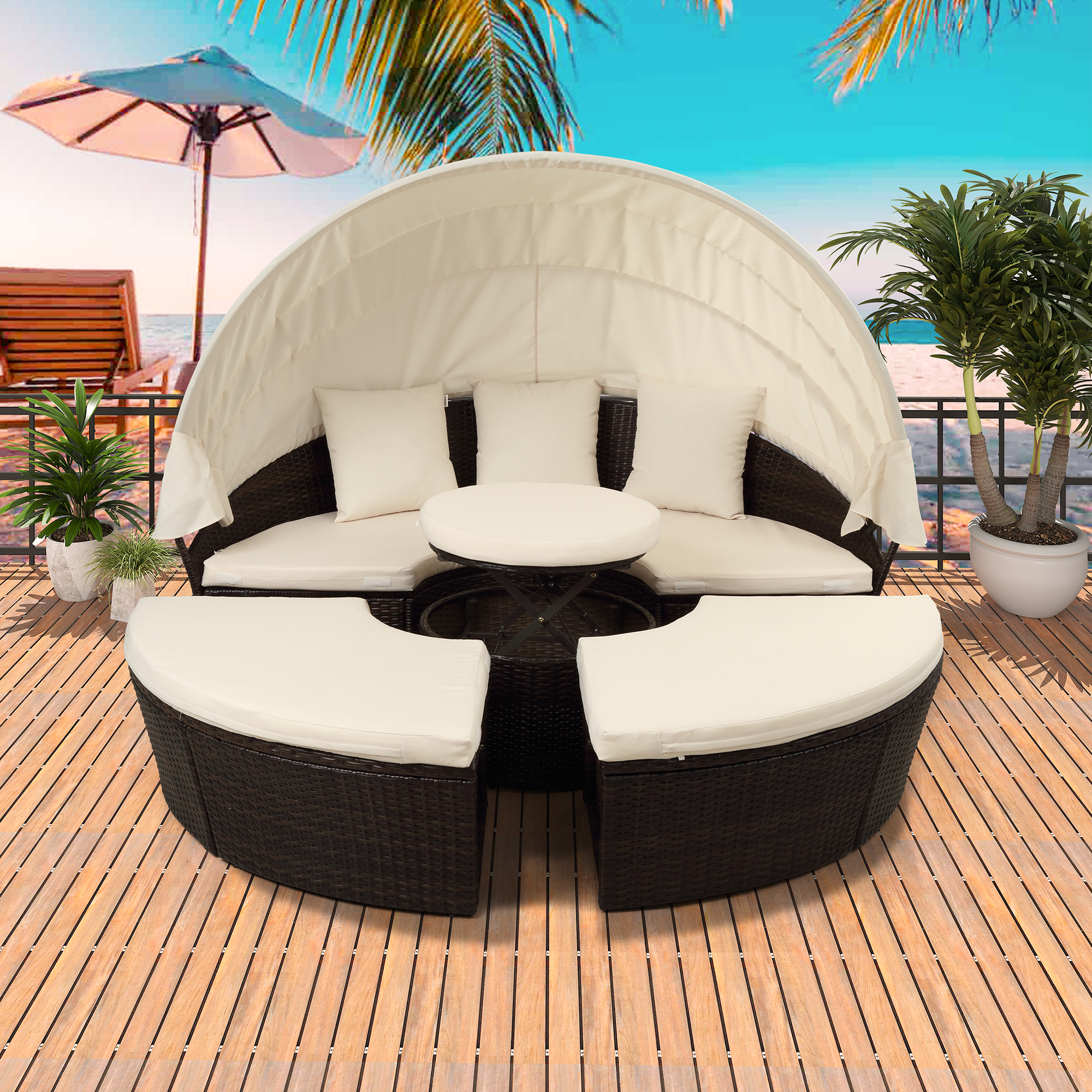 patio daybed 5 piece patio furniture sets round wicker daybed with retractable canopy all weather outdoor sectional sofa set with cushions for