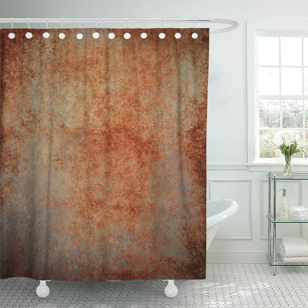 pknmt abstract brown rust color stain splash messy dirty vintage gray neutral old rough bathroom shower curtain 66x72 inch