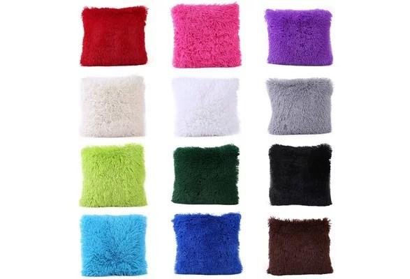 fluffy colorful pillow case sofa waist throw cushion cover warm home decor office sofa bed pillow oreiller housse de coussin 12 colors 46zdcp4193