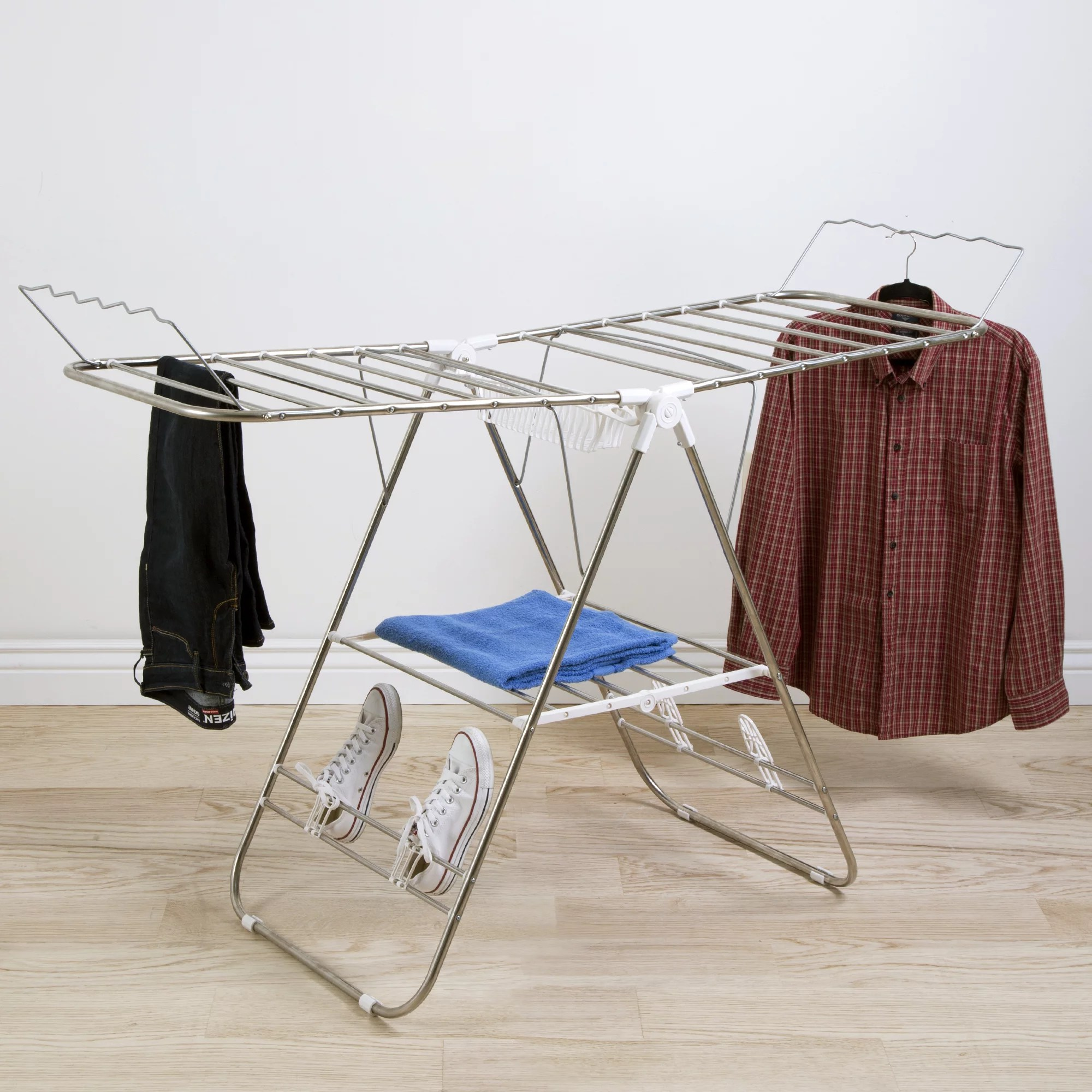 heavy duty laundry drying rack stainless steel clothing shelf for indoor and outdoor use best used for shirts pants towels shoes by everyday home