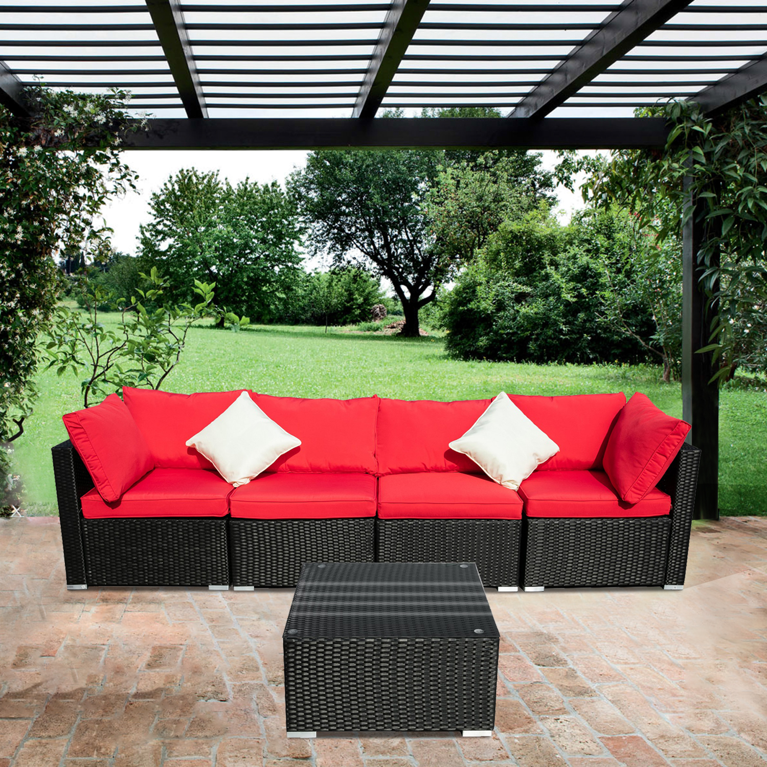 ainfox outdoor patio furniture on clearance 5 pieces pe rattan wicker sectional sofa sets couches with red cushions white pillows