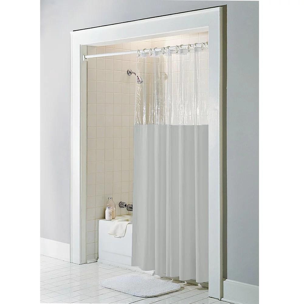 taupe vinyl windowed shower curtain liner clear top standard size 72 wide x 72 long walmart com