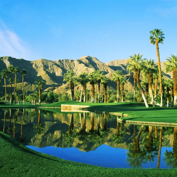 Reflection of trees on water in a golf course Thunderbird Country     Reflection of trees on water in a golf course Thunderbird Country Club  Rancho Mirage California USA Poster Print   Walmart com