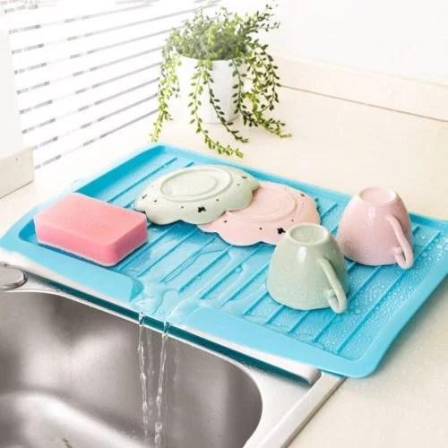 plastic over the sink dish drying rack colander dish drainer utensil holder random color