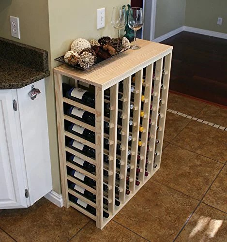 creekside 48 bottle table wine rack pine by creekside exclusive 12 inch deep design conceals entire wine bottles hand sanded to perfection pine
