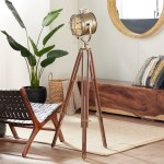 Decmode 28 X 70 Tall Industrial Brass Wood Tripod Floor Lamp W Spotlight Metal Cage Shade Walmart Com Walmart Com
