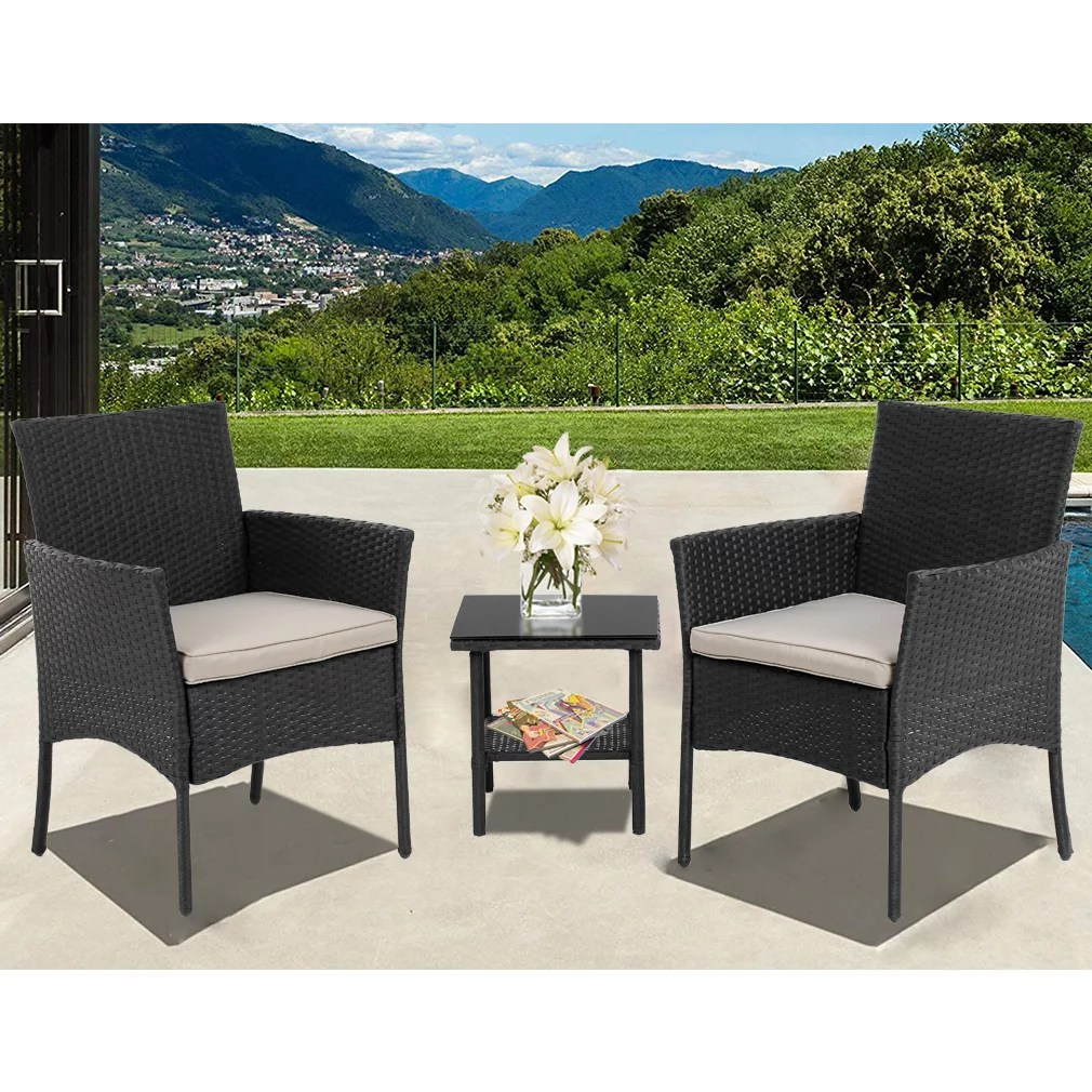 patio furniture sets 3 pieces outdoor bistro set rattan wicker conversation sets with beige cushions