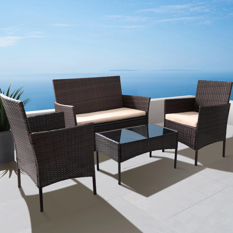 walnew 4 pieces outdoor patio furniture sets rattan chair wicker set for backyard porch garden poolside balcony walmart com