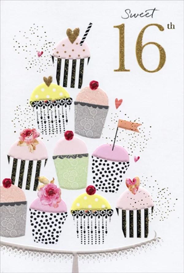 Pictura Sweet 16 Cupcakes Display Sara Miller Feminine 16th Birthday Card For Her Girl Walmart Com Walmart Com