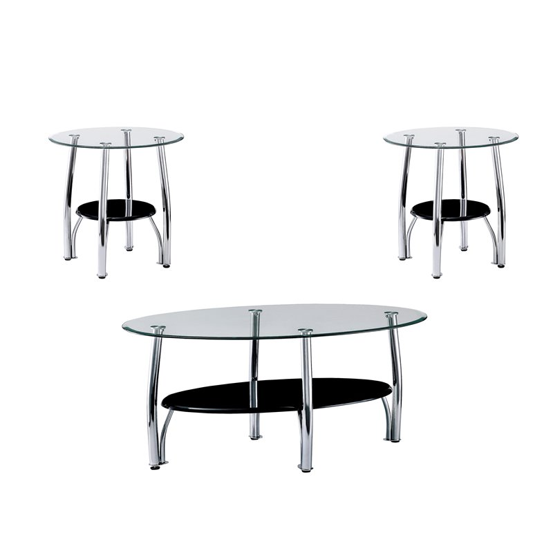 furniture of america seetle 3 piece glass coffee table set in chrome walmart com