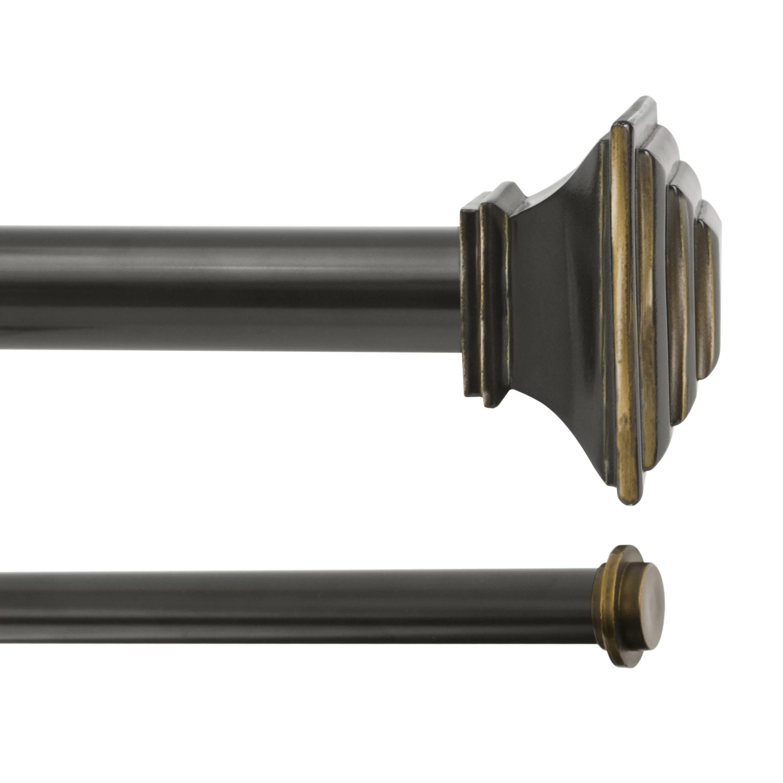kenney mission 1 premium decorative window double curtain rod 66 120 oil rubbed bronze
