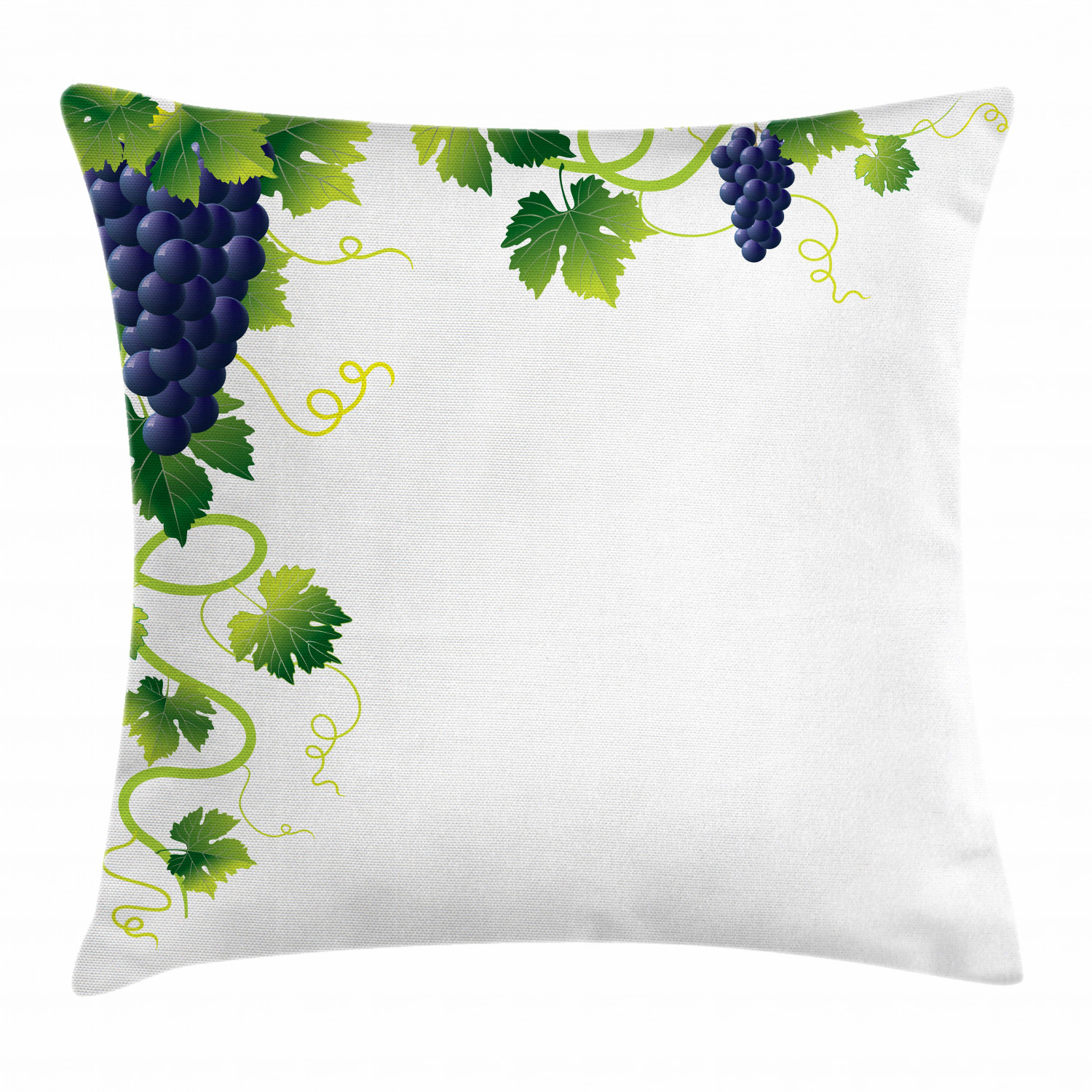 vine throw pillow cushion cover summer season vineyard composition weeping vines bunch of blue grapes decorative square accent pillow case 20 x 20
