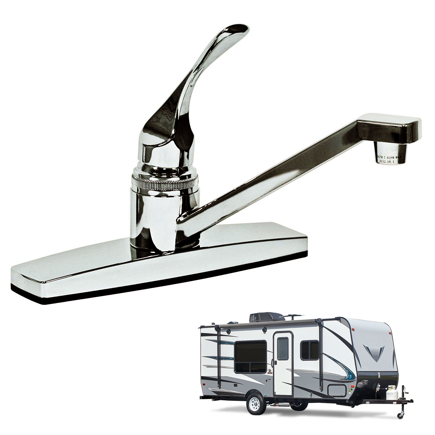 single lever handle rv kitchen faucet non metallic polished chrome finish for mobile homes motorhomes travel trailers campers walmart com