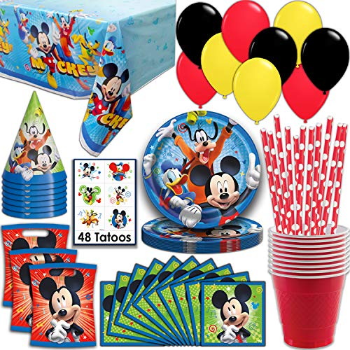 Mickey Mouse Party Supplies Serves 16 Plates Napkins Tablecloth Cups Straws Balloons Loot Bags Tattoos Birthday Hats Full Tableware Decorations Favors For Walmart Com Walmart Com