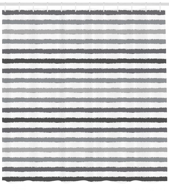 Striped Shower Curtain Gray And White Stripes Monochrome Tone Brush Style Lines Grunge Retro Digital Print Fabric Bathroom Set With Hooks White