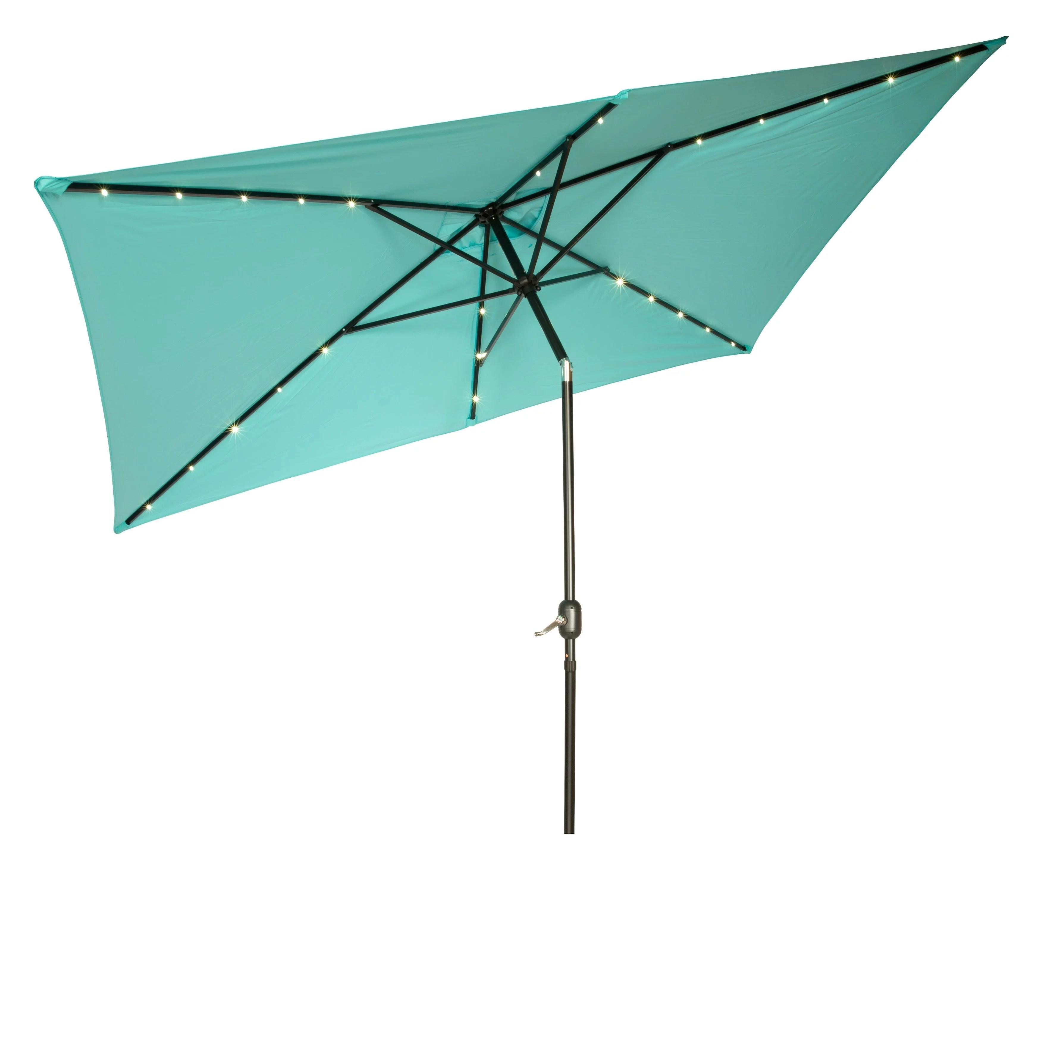 rectangular solar powered led lighted patio umbrella 10 x 6 5 by trademark innovations teal walmart com
