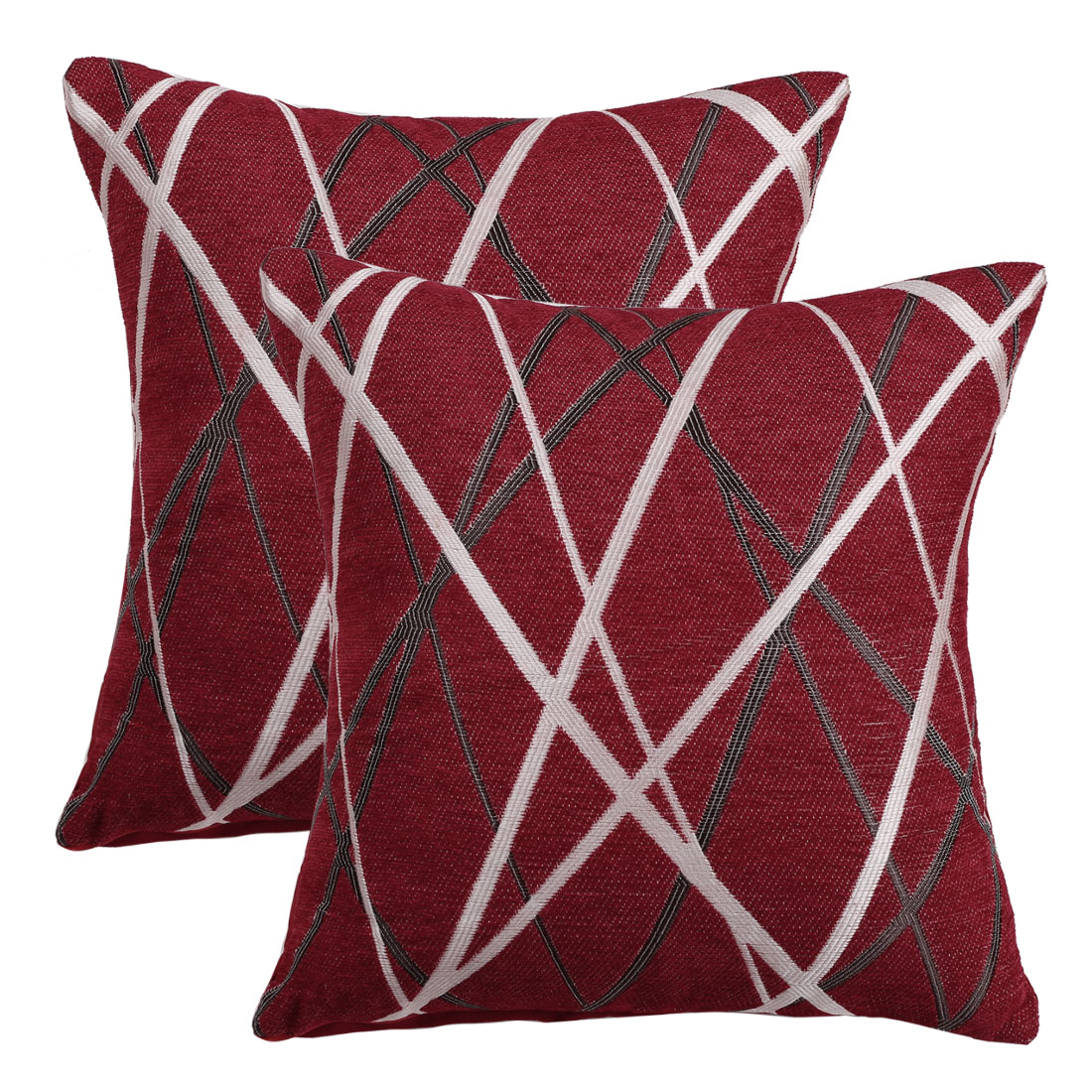 unique bargains 2 pack stylish decorative throw pillow cover red 17 x 17
