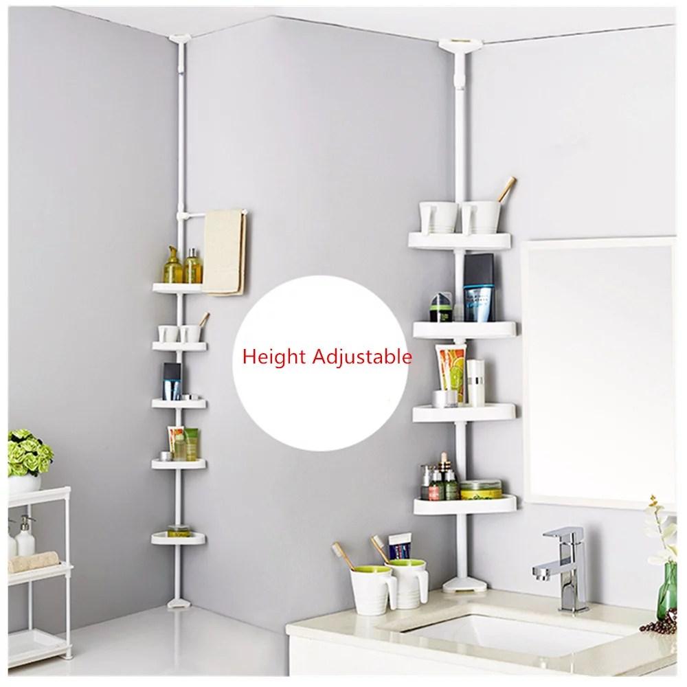 tension bathroom corner shelf bath shower caddy pole storage rack tower organizer basket