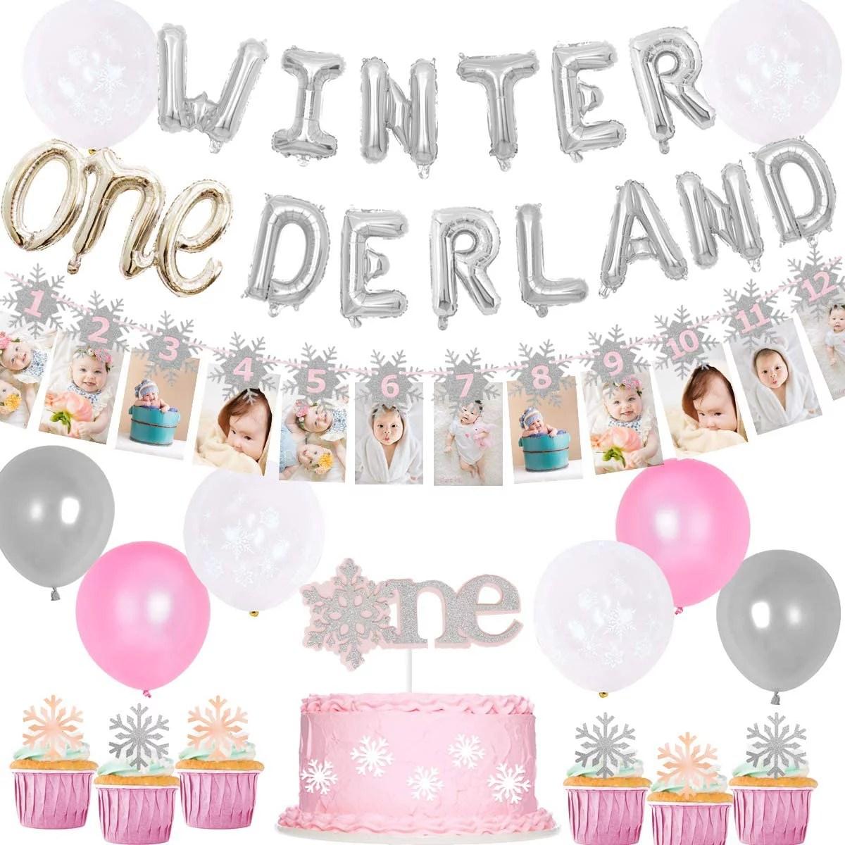 Winter Onederland 1st Birthday Decorations For Princess One Cake Topper Snowflakes 12 Photo Banner Walmart Com Walmart Com