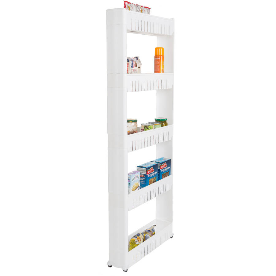 lavish mobile shelving unit organizer with 5 large storage baskets slim slide out pantry storage rack for narrow spaces by everyday home
