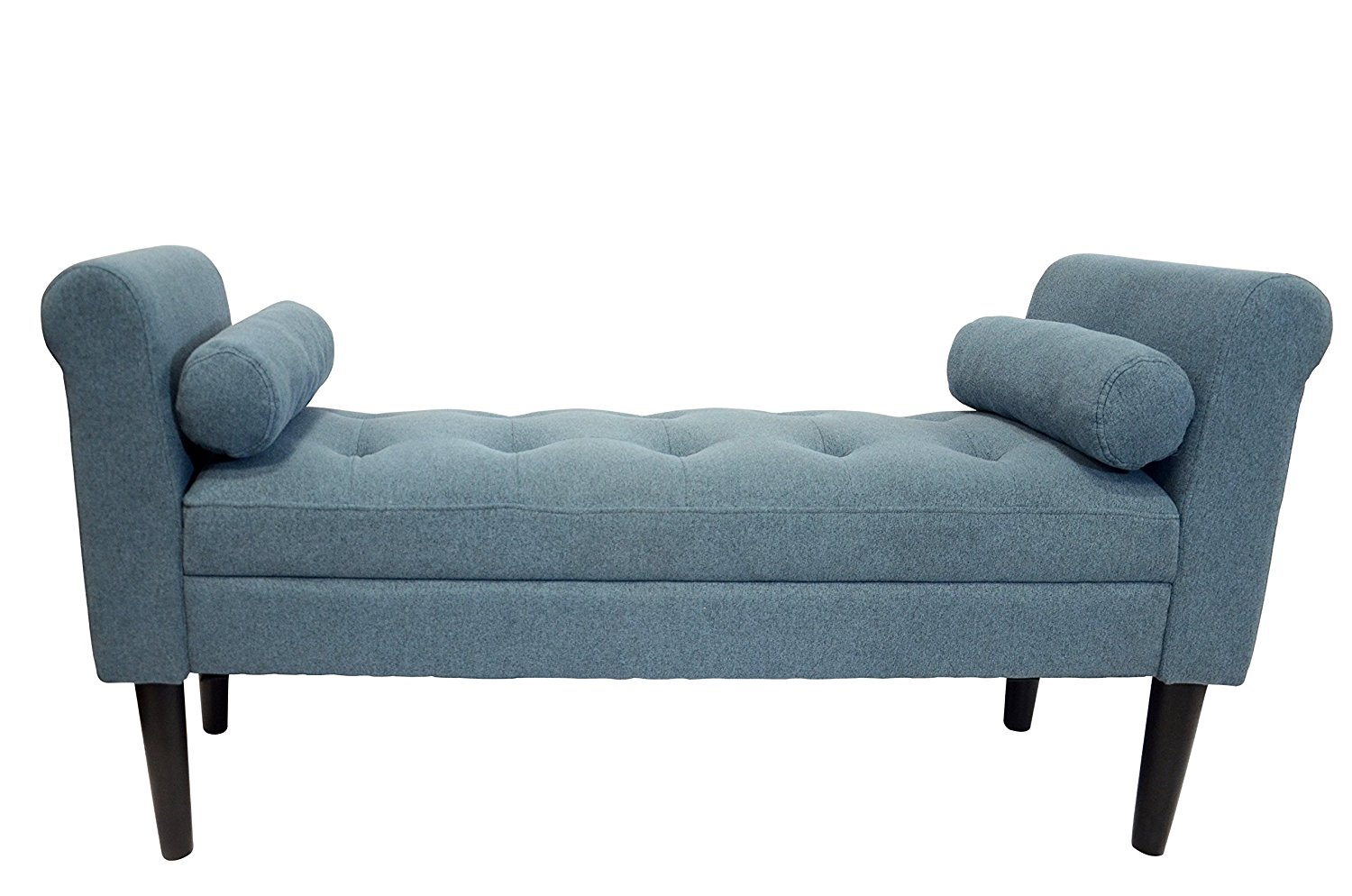serene decor bedroom bench with rolled arms sapphire blue walmart com