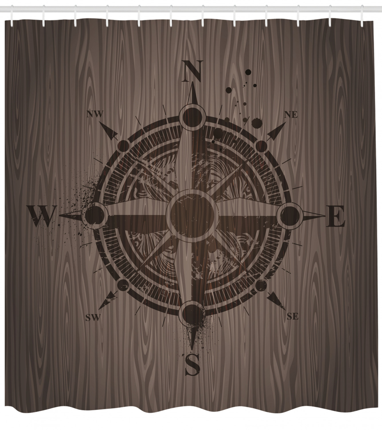 Compass Shower Curtain Drawing Of A Sailing Compass On A Wooden Surface In Computer Generated Art Fabric Bathroom Set With Hooks Umber Dark Brown