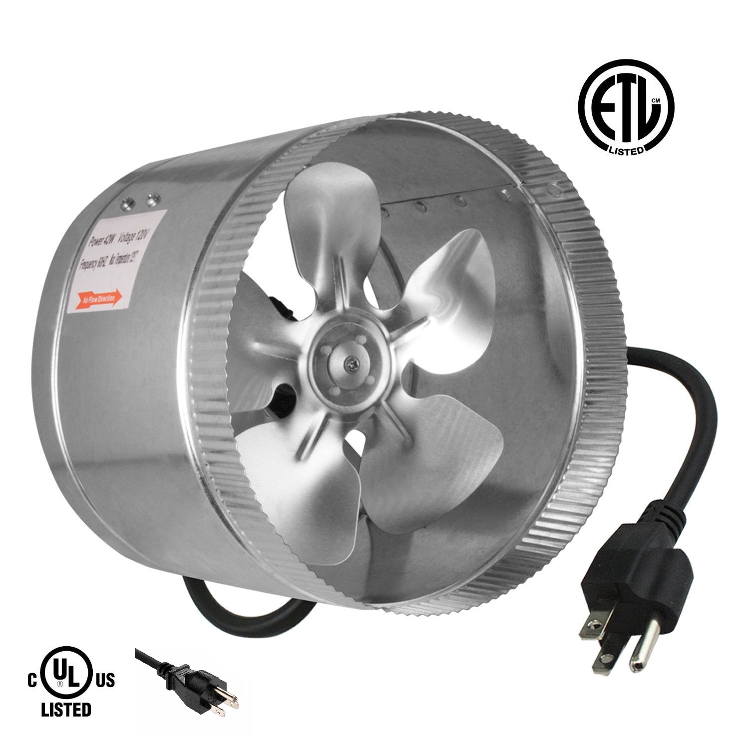 ipower 8 420 cfm booster fan inline duct vent blower for hvac exhaust and intake 5 5 grounded power cord walmart com