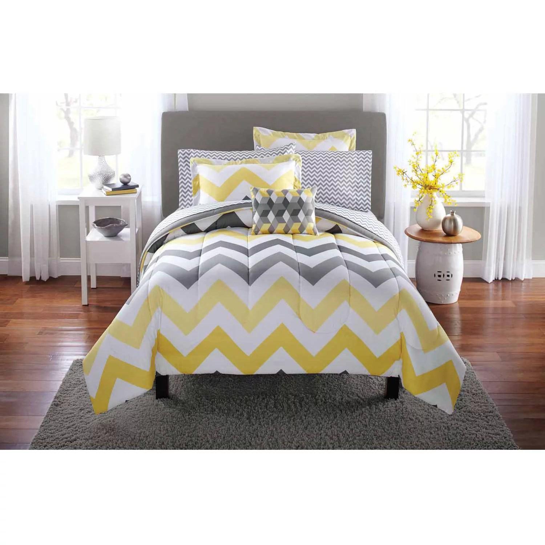 mainstays yellow grey chevron bed in a bag 8 piece bedding comforter set queen walmart com