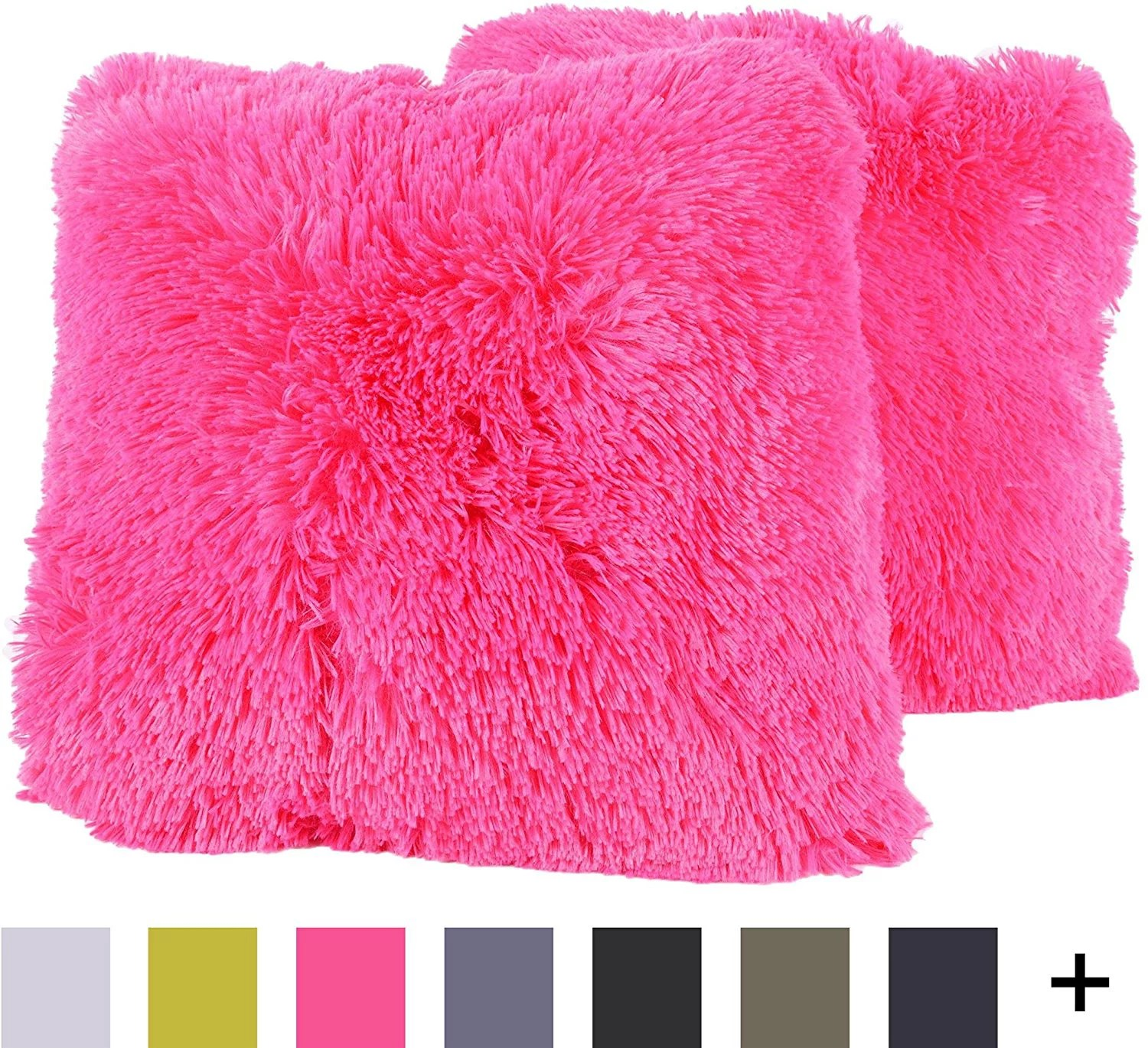 plush pillow faux fur soft and comfy throw pillow pack of 2 hot pink plush and fuzzy long faux fur on both sides by sweet home collection usa