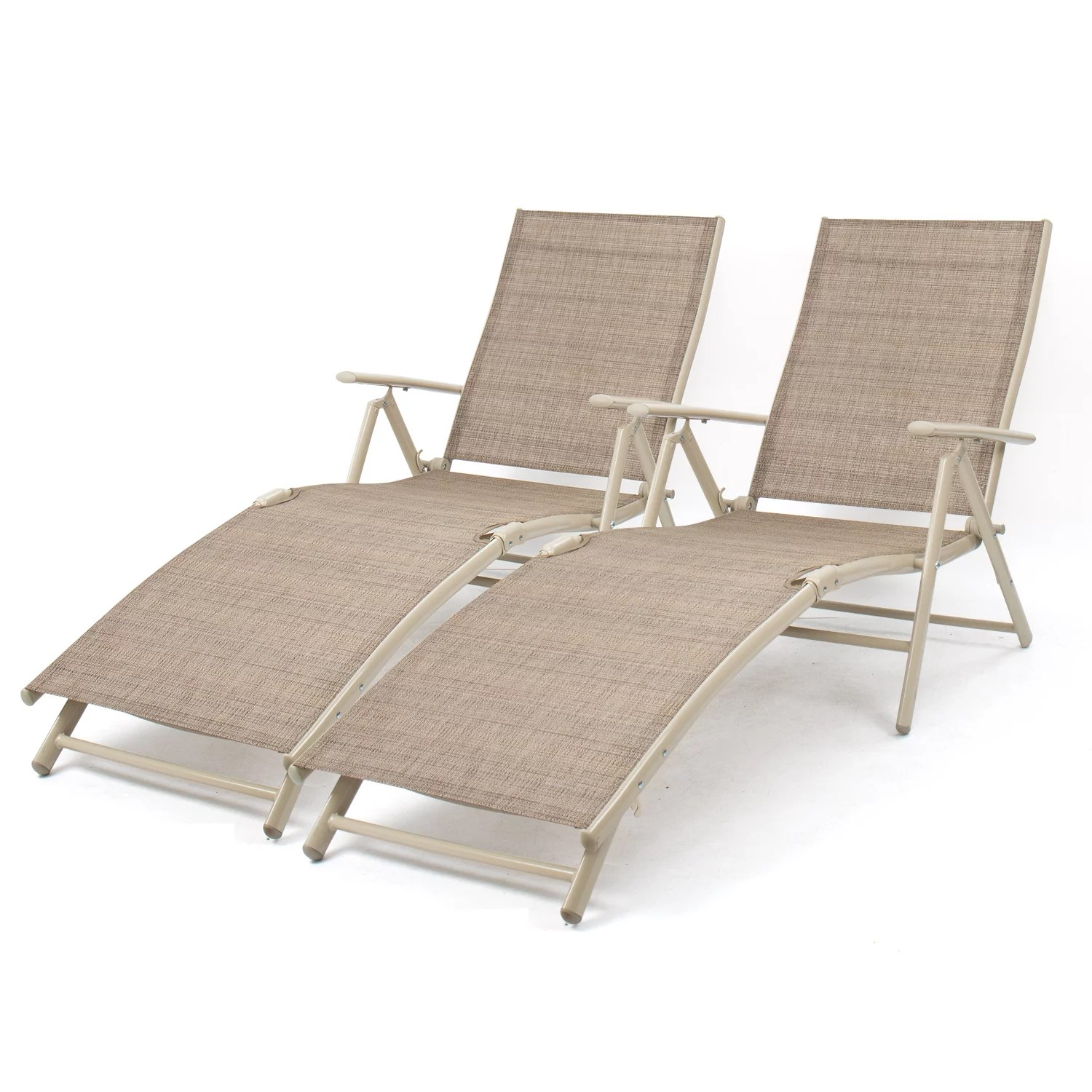 walnew set of 2 patio lounge chairs adjustable pool chaise lounge chairs folding outdoor recliners beige