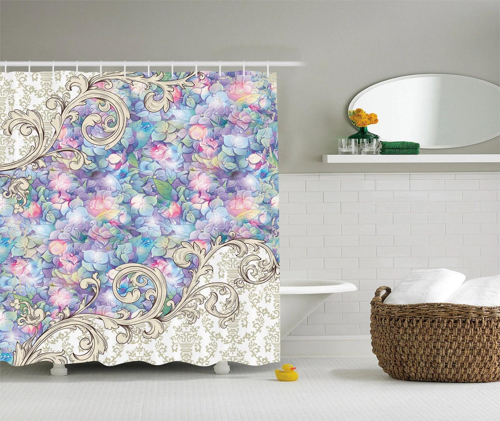 ornaments hydrangeas romantic flowers cream baroque lilac fabric shower curtain