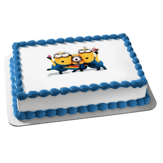 Despicable Me Minions Stuart Kevin Dave Edible Cake Topper Image Abpid05620 Walmart Com Walmart Com