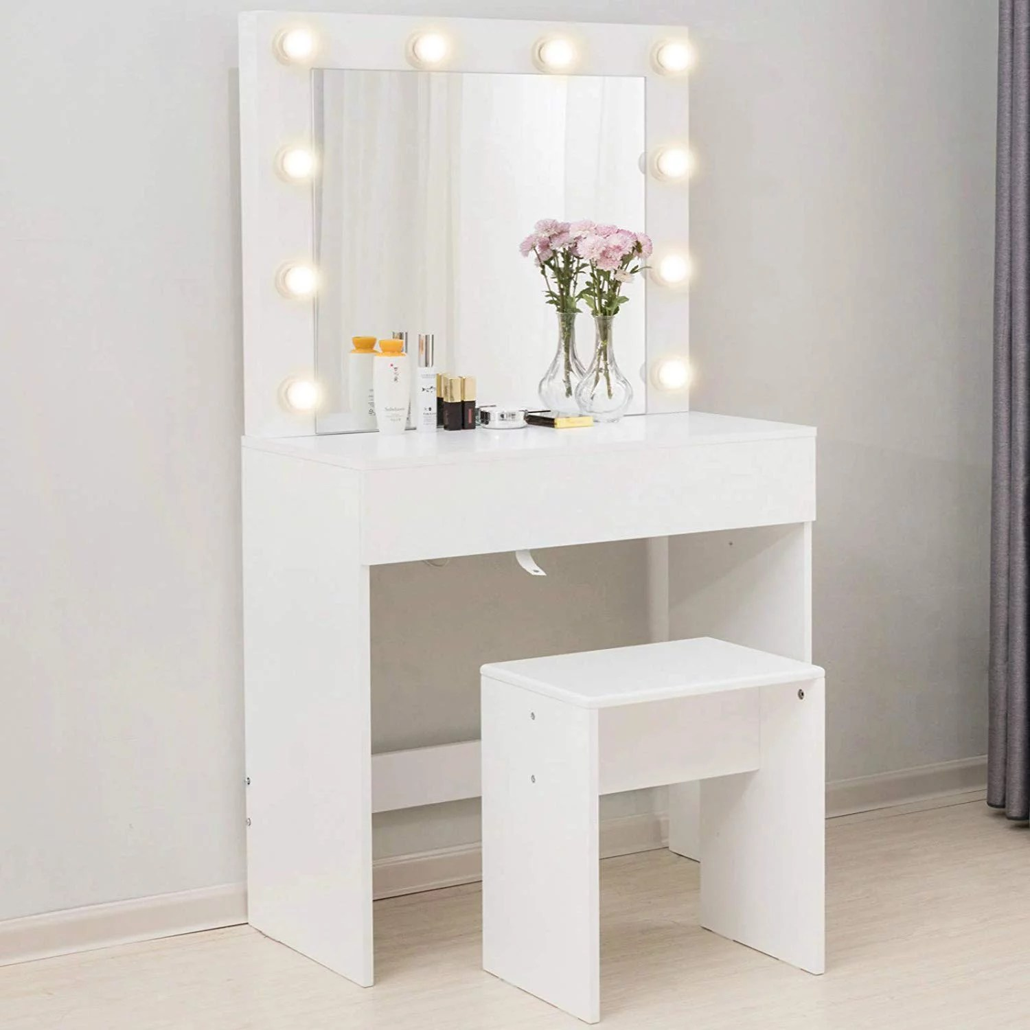 mecor makeup vanity table w 10 led lights mirror vanity set with stool drawer wood dressing table bedroom furniture girls women gifts white