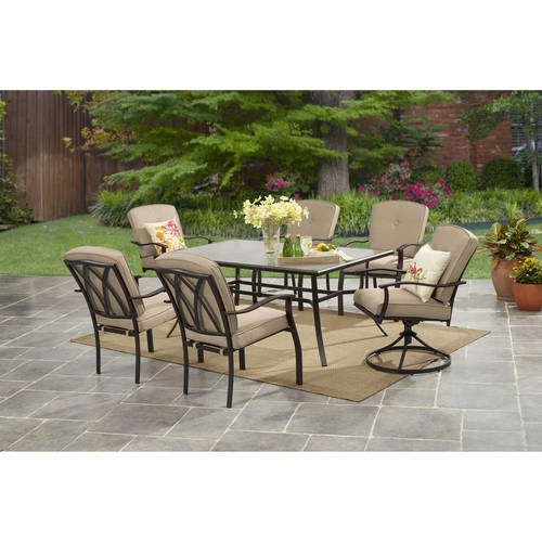 mainstays belden park outdoor patio dining set 7 piece metal cushioned tan