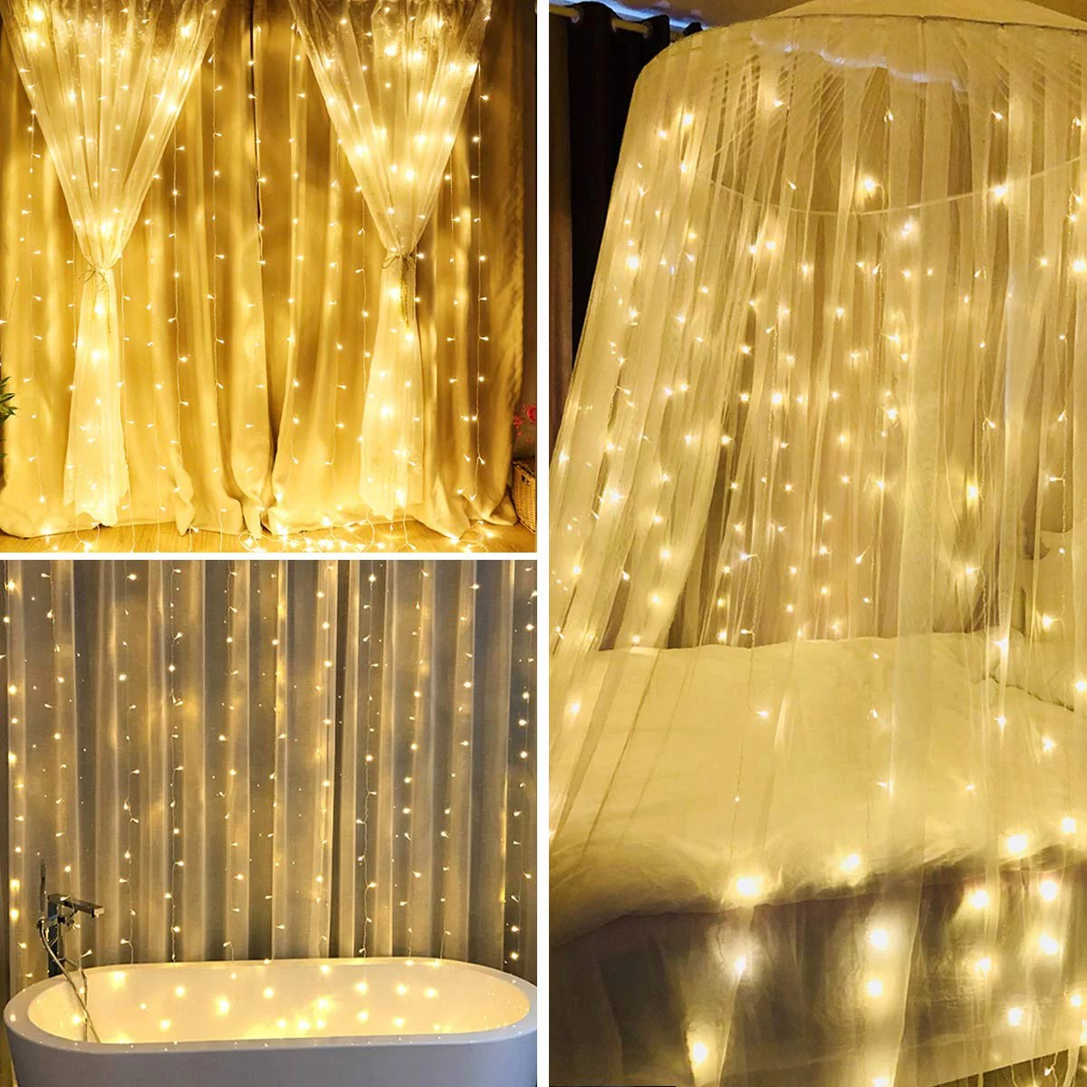 walfront 600 leds window curtain lights 13ftx6 5ft 8 modes fairy string light christmas wedding party home garden bedroom curtain wall decorative