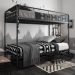 Dhp Jaxon Twin Twin Bunk Bed With Storage Black Metal Walmart Com Walmart Com