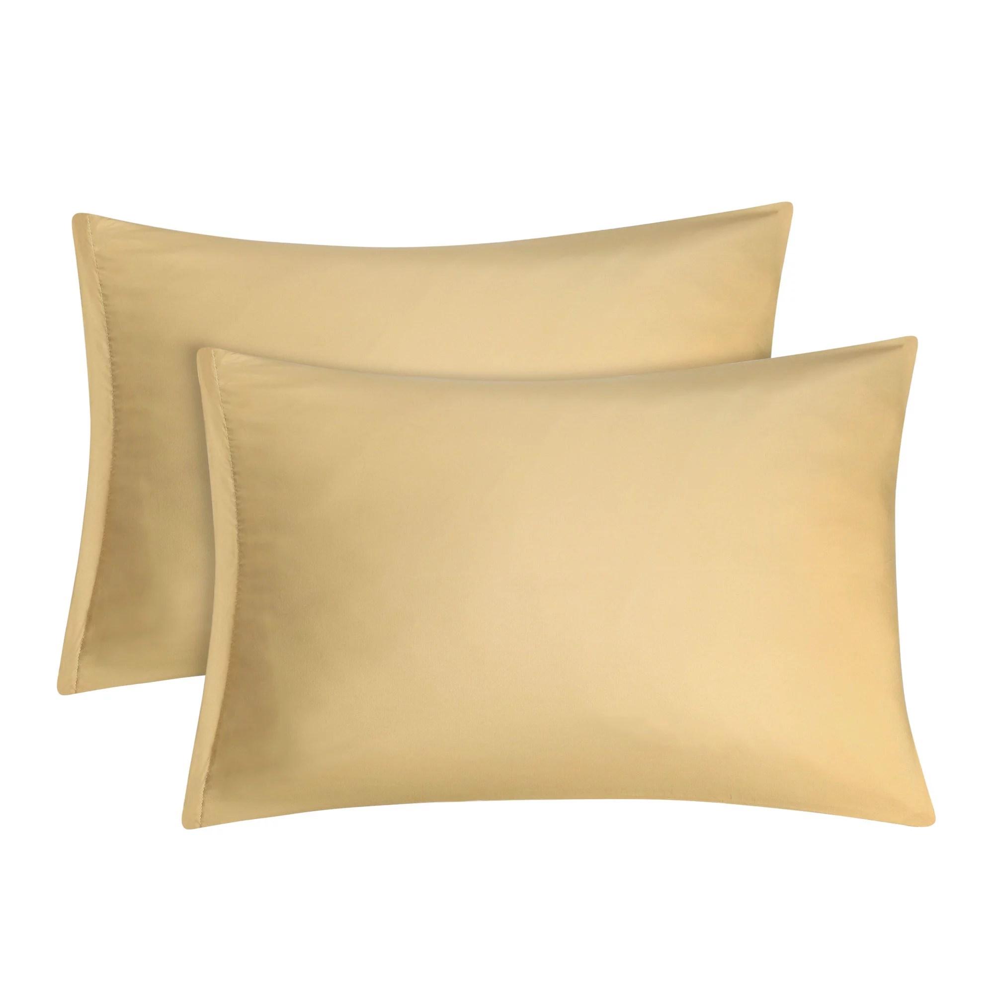 piccocasa 2 pack 1800 microfiber pillow case with zipper closure gold travel 14 x 20