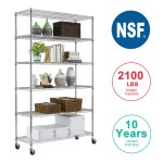 6 Tier Wire Shelving Unit Heavy Duty Height Adjustable Nsf Certification Utility Rolling Steel Commercial Grade With Wheels For Kitchen Bathroom