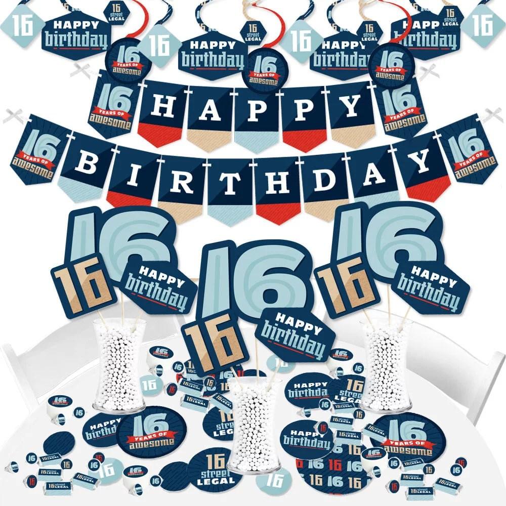 Boy 16th Birthday Sweet Sixteen Birthday Party Supplies Banner Decoration Kit Fundle Bundle Walmart Com Walmart Com