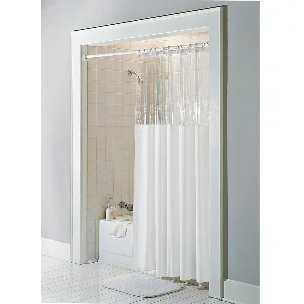 bone ivory vinyl windowed shower curtain liner clear top stall size 54 x 78