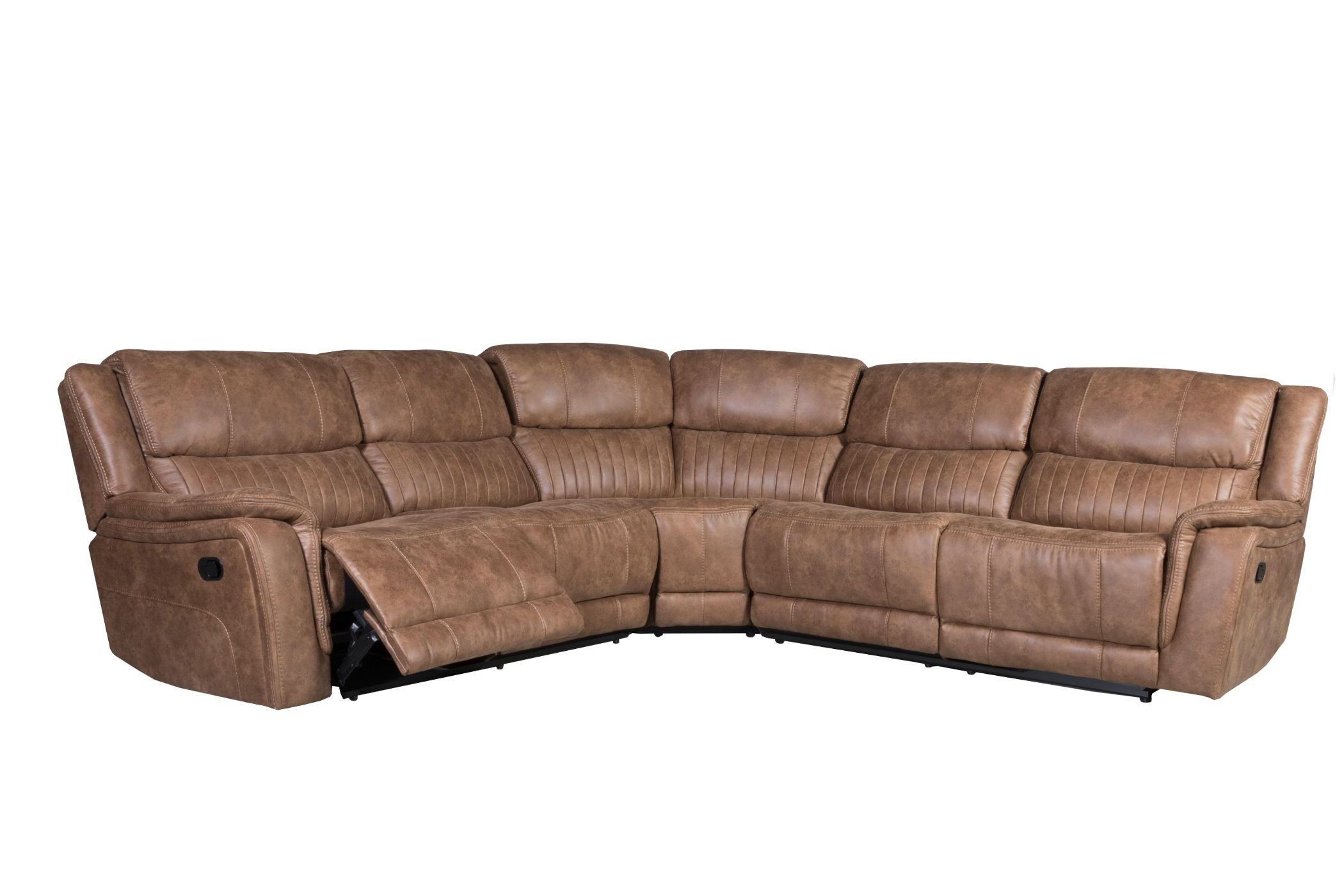 malyn brown faux leather reclining sectional sofa