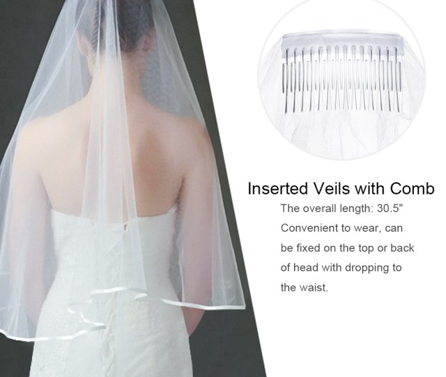 Uarter Cascade Bridal Wedding Veil Inserted Tulle Veils With Comb And Ribbon Edge