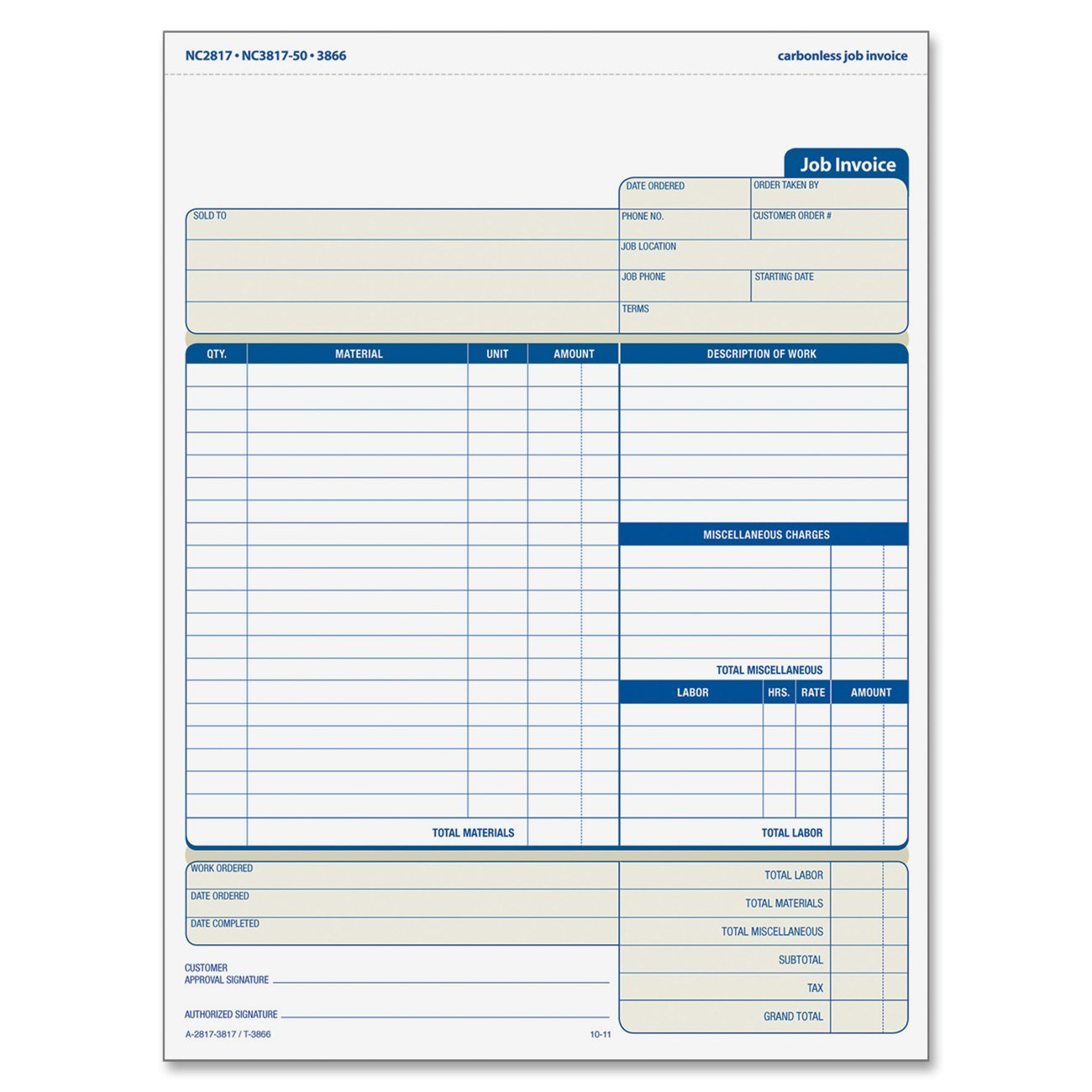 Job Invoice With Materials List 3 Part Carbonless 8 5 X 11 Inches 50 Sets Per Pack 3866 Snap Off Triplicate Job Invoice Form For On Location