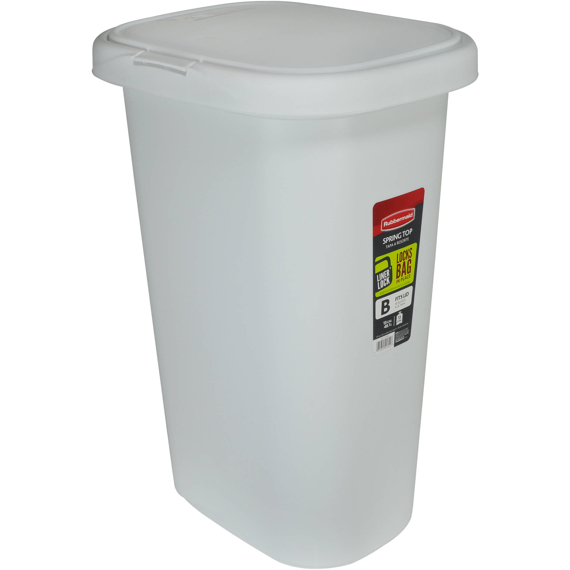 Rubbermaid Spring Top Wastebasket With Liner Lock Plastic 13 Gal White Walmart Com Walmart Com