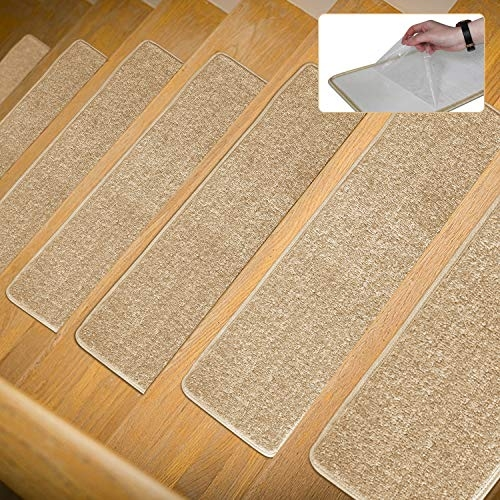 Lonnie Life Anti Skid Carpet Stair Treads No Glue But Self | No Slip Strips For Carpeted Stairs | Stair Nosing | Traction | Non Slip Nosing | Slippery Stairs | Tread Nosing