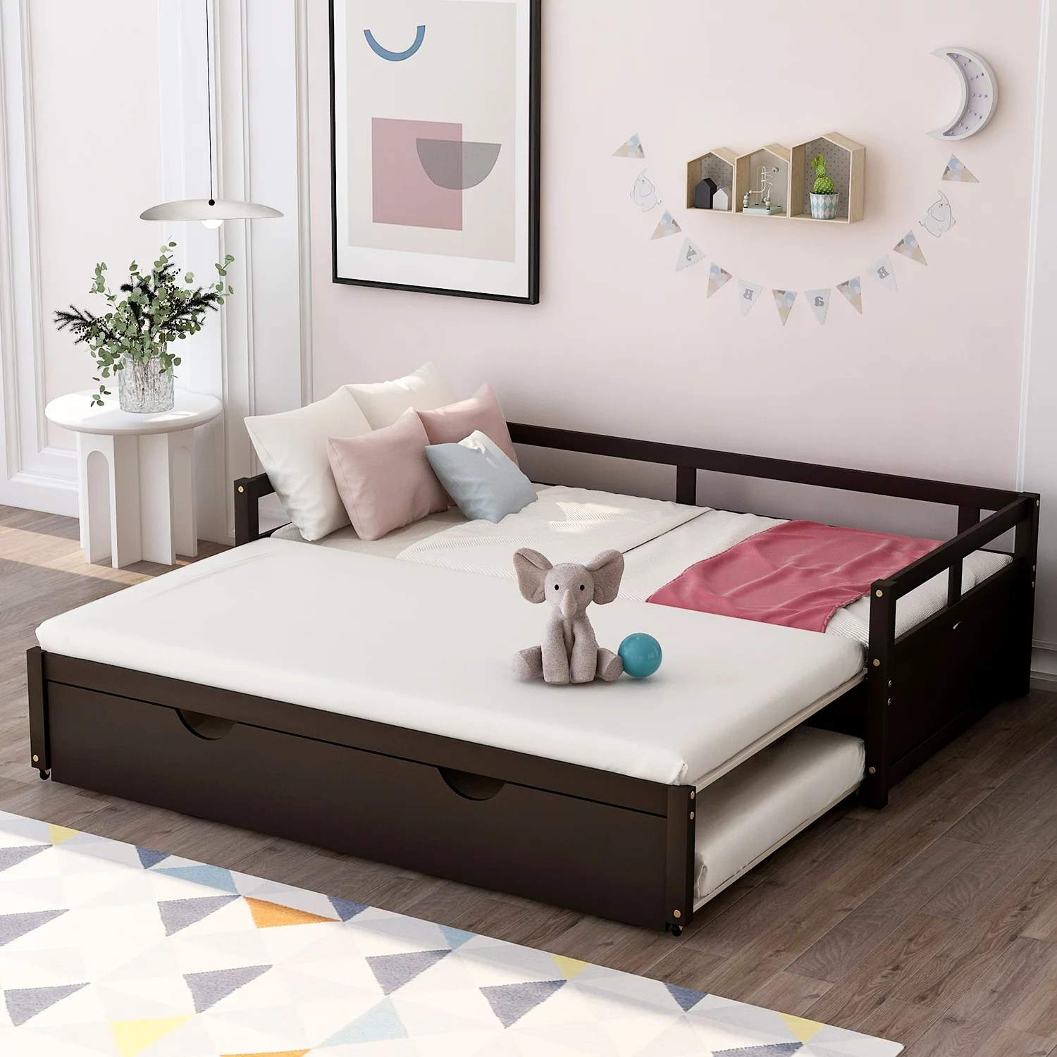 Daybed With Trundle Wooden Twin Bed For Kids Teens Space Saving Sofa Bed For Bedroom Living Room Contemporary Extending Twin Platform Trundle Daybed No Box Spring Needed Espresso A748 Walmart Com Walmart Com