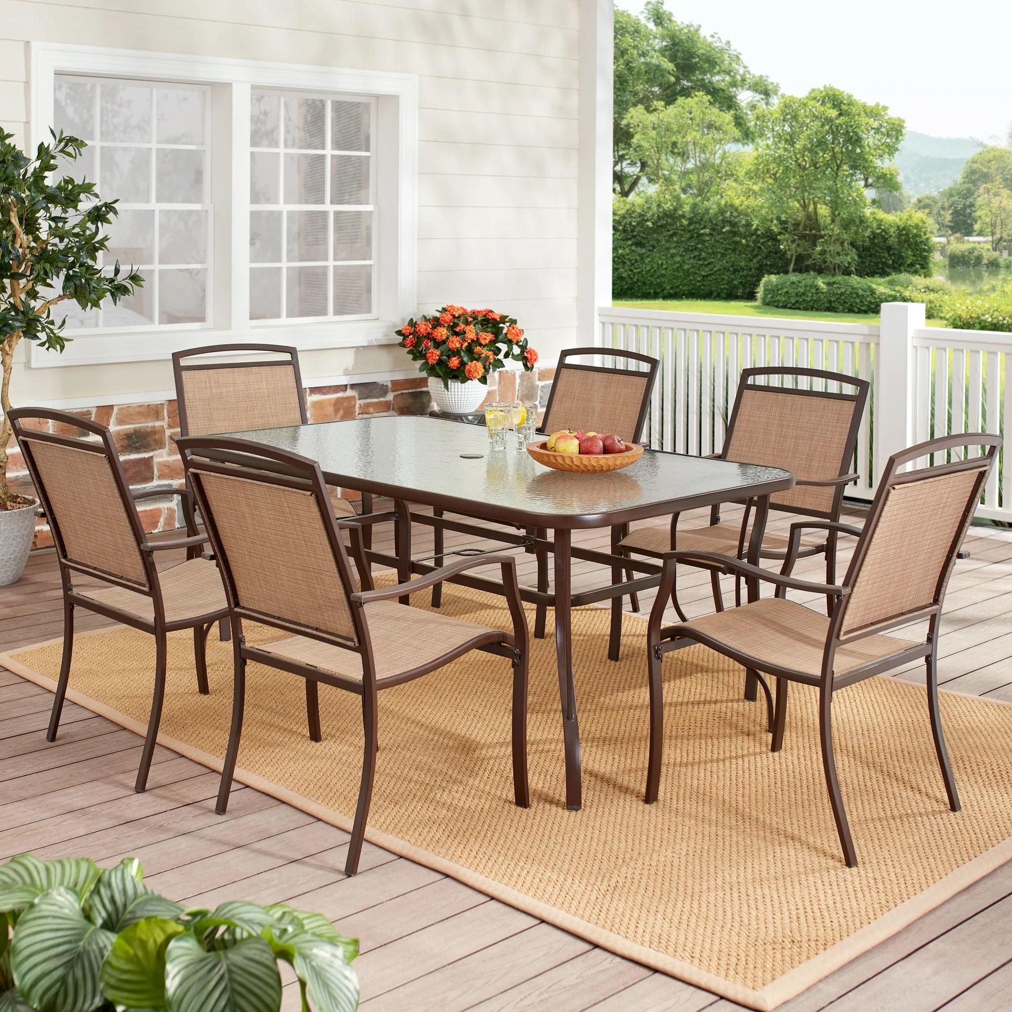mainstays sand dune 7 piece outdoor patio dining set walmart com