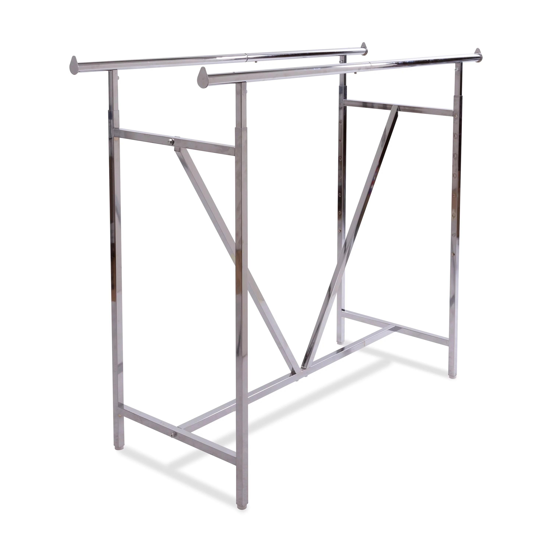 econoco adjustable height heavy duty double bar retail clothing rack w v brace walmart com