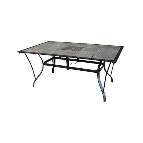 courtyard creations tcs64ps madison patio collection dining table gray slate tile top taupe steel frame 64 x 40 in